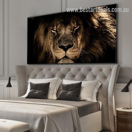 Starring Lion Animal Modern Painting Image Canvas Print for Room Wall Décor