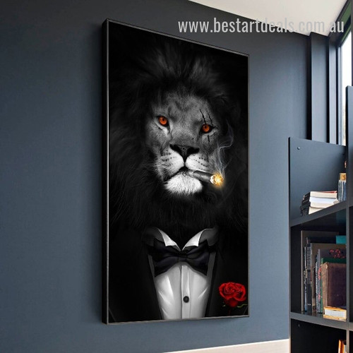 Bombing Lion Animal Modern Smudge Photo Canvas Print for Room Wall Décor