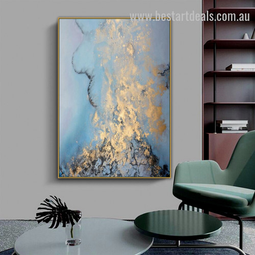 Gold Marine Abstract Landscape Nordic Painting Pic Canvas Print for Room Wall Drape