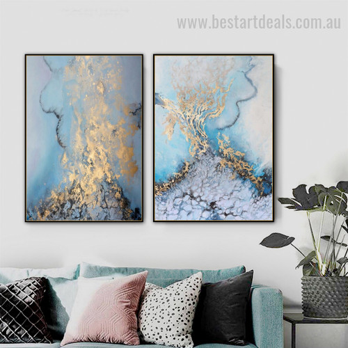 Sea Foam Abstract Landscape Nordic Painting Picture Canvas Print for Room Wall Ornament