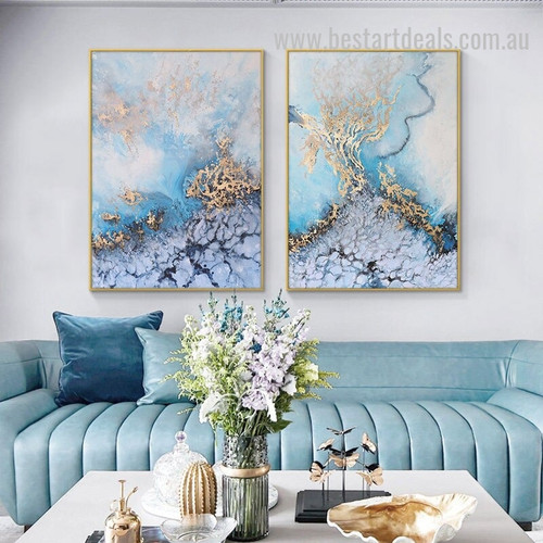 Sea Twister Abstract Seascape Nordic Painting Picture Canvas Print for Room Wall Arrangement
