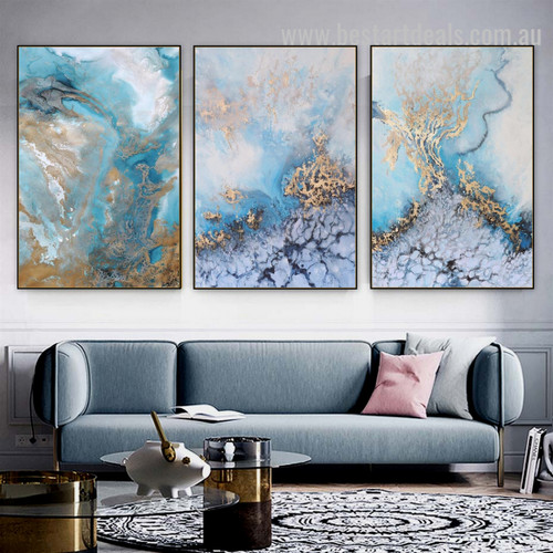 Coltish Gold Abstract Seascape Nordic Painting Photo Canvas Print for Room Wall Arrangement