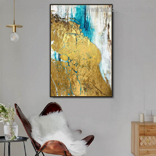 Blue Gold Abstract Modern Artwork Picture Canvas Print for Room Wall Decoration