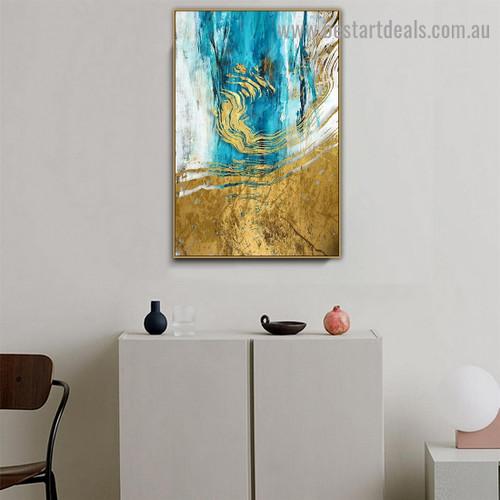 Aqua Splash Abstract Modern Artwork Portrait Canvas Print for Room Wall Adornment