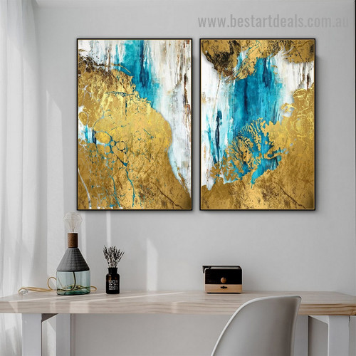 Golden Wave Abstract Modern Artwork Picture Canvas Print for Room Wall Decoration