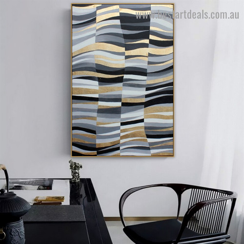 Color Sewing Abstract Modern Nordic Artwork Picture Canvas Print for Room Wall Décor