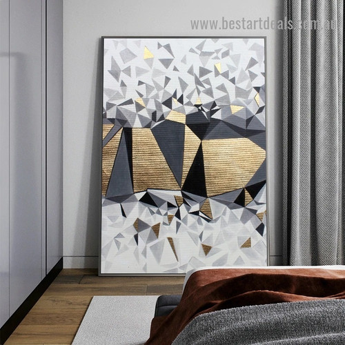 Golden Geometric Fragment Abstract Modern Nordic Artwork Picture Canvas Print for Room Wall Ornament