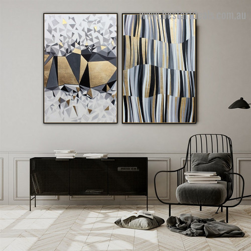 Auric Chunk Abstract Modern Nordic Artwork Photo Canvas Print for Room Wall Decoration