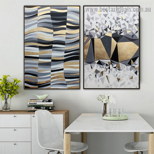 Foil Waves Abstract Modern Nordic Artwork Picture Canvas Print for Room Wall Ornament