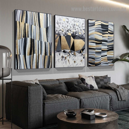 Quadrangular Cubes Abstract Modern Nordic Artwork Picture Canvas Print for Room Wall Décor
