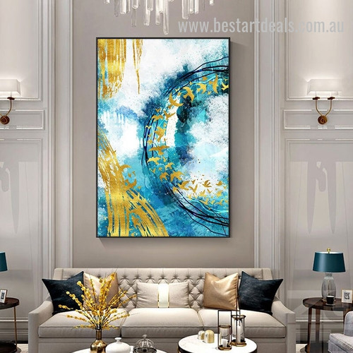 Flying In Circle Abstract Modern Smudge Image Canvas Print for Room Wall Arrangement