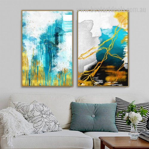Gold Thunder Marble Contemporary Modern Artwork Portrait Canvas Print for Room Wall Decoration