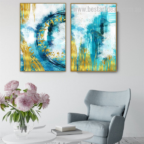 Golden Birds Abstract Modern Painting Image Canvas Print for Room Wall Decor