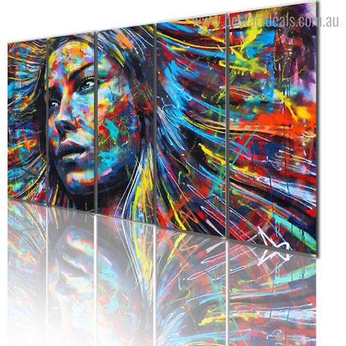 Rainbow Face Abstract Graffiti Artwork Image Canvas Print