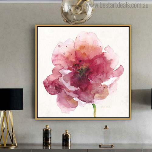 Red Poppy Abstract Watercolor Painting Print for Living Room Adornment