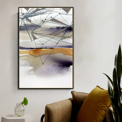 Lake Grass Abstract Nature Modern Smudge Picture Canvas Print for Room Wall Adornment