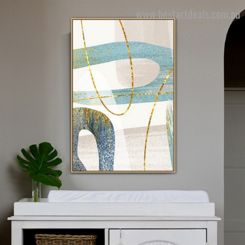 Golden Line Abstract Modern Artwork Portrait Canvas Print for Room Wall Adornment