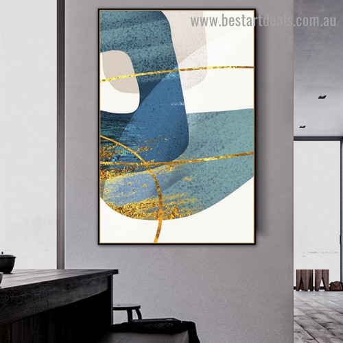 Blue Stroke Abstract Modern Artwork Picture Canvas Print for Room Wall Decoration