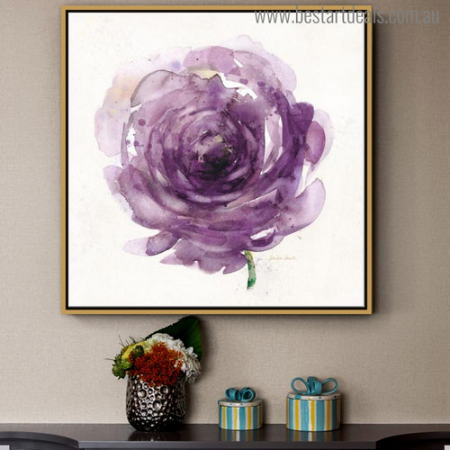 Purple Rosette Abstract Modern Watercolor Painting Canvas Print for Living Room Decoration
