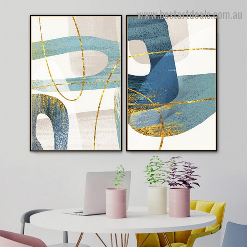 Bold Curved Line Abstract Modern Artwork Portrait Canvas Print for Room Wall Ornament