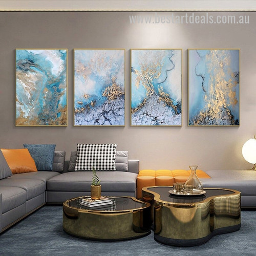 Water Effervescence Abstract Seascape Modern Artwork Pic Canvas Print for Room Wall Garnish