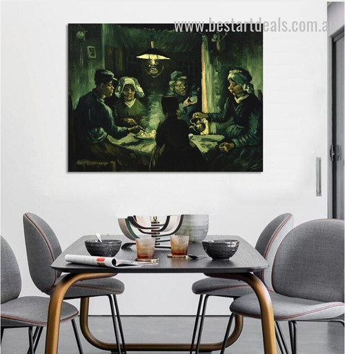 Potato Eaters Reproduction Figure Impressionism Modern Effigy Photo Canvas Print for Room Wall Garniture