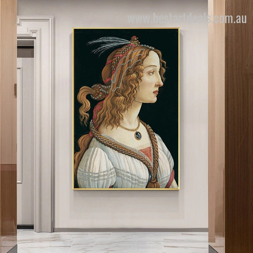 Simonetta Vespucci Reproduction Figure Rennaisance Painting Pic Canvas Print for Room Wall Ornament