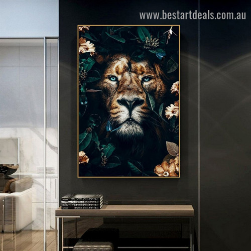 Beautiful Floral Lion Animal Modern Artwork Picture Canvas Print for Room Wall Decoration