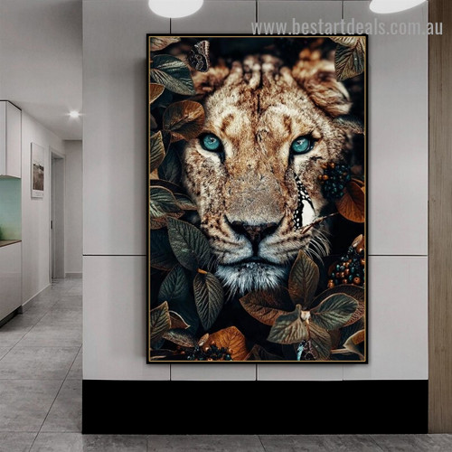 Wild Lioness Animal Modern Artwork Picture Canvas Print for Room Wall Ornament