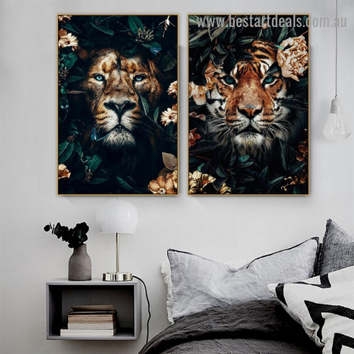 Shiny Eyes Tiger Animal Modern Artwork Picture Canvas Print for Room Wall Adornment