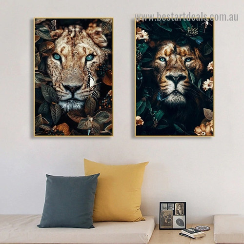 Ruthless Wild Lion Animal Modern Artwork Photo Canvas Print for Room Wall Decoration