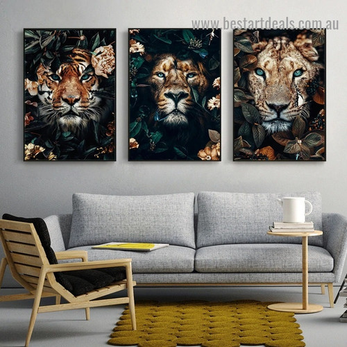 Fearless Floral Tiger Animal Modern Artwork Portrait Canvas Print for Room Wall Adornment