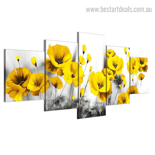 Poppies Garden Botanical Nature Painting Photo Canvas Print