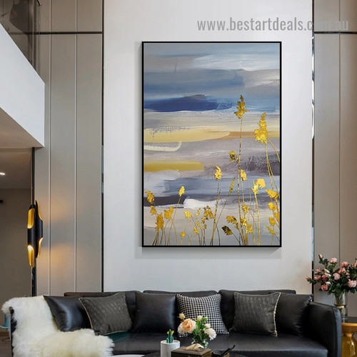Golden Reed Abstract Modern Nordic Artwork Picture Canvas Print for Room Wall Decoration