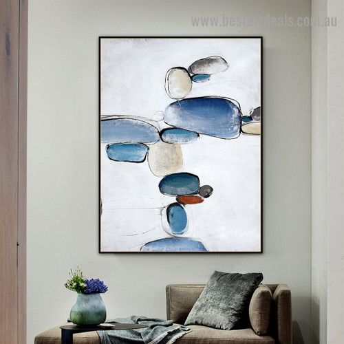 Multicolor Stones Abstract Modern Nordic Artwork Picture Canvas Print for Room Wall Adornment
