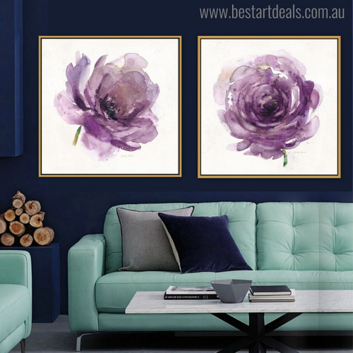 Purple Roses Abstract Modern Watercolor Painting Canvas Print for Living Room Ornament