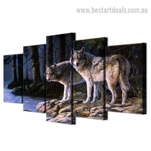 Timber Wolves Animal Nature Modern Smudge Portrait Canvas Print
