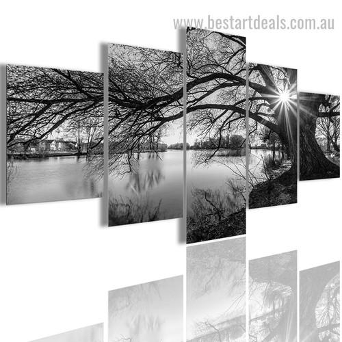 Snag Tree Botanical Landscape Vintage Smudge Photo Canvas Print