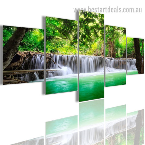 Beautiful Waterfall Nature Landscape Modern Portraiture Image Canvas Print