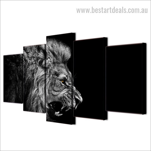 Infuriated Lion Animal Retro Painting Picture Canvas Print