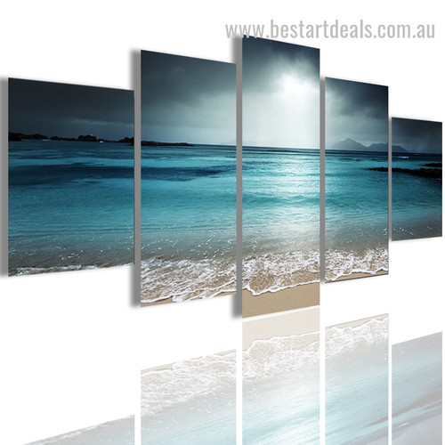 Ocean Night Nature Seascape Modern Portraiture Pic Canvas Print