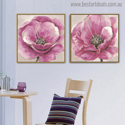 Pink Floweret Abstract Modern Watercolor Painting Canvas Print for Dining Room Decor
