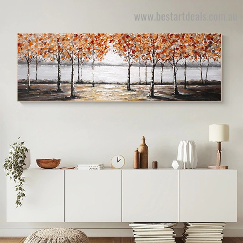 Autumn Season Botanical Abstract Modern Artwork Picture Canvas Print for Room Wall Adornment