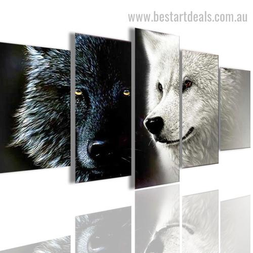 Wolf Couple Animal Modern Effigy Photo Canvas Print