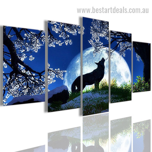 Howling Wolf Animal Nature Modern Artwork Pic Canvas Print
