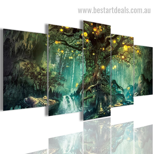 Fantasy magical Forest Botanical Nature Modern Artwork Photo Canvas Print