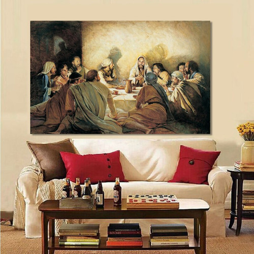 Jesus and Apostles Vintage Holy Modern Painting Print for Lounge Room Ornament