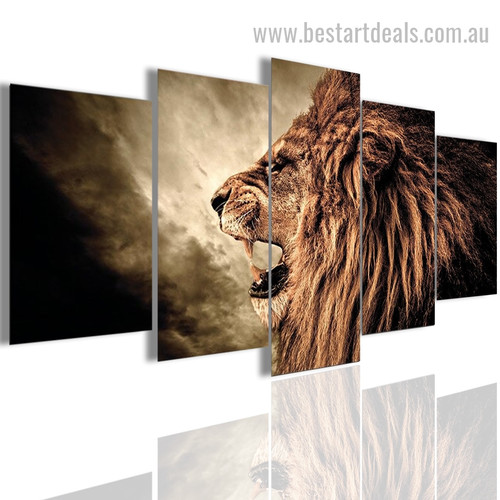 Growling Lion Animal Landscape Modern Painting Pic Canvas Print