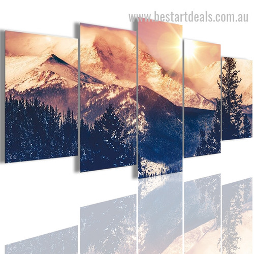 Dawn In Mountains Botanical Nature Modern Smudge Photo Canvas Print