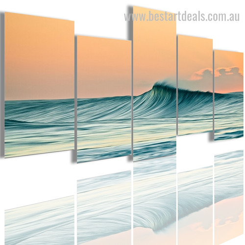 Wave Seascape Modern Smudge Portrait Canvas Print